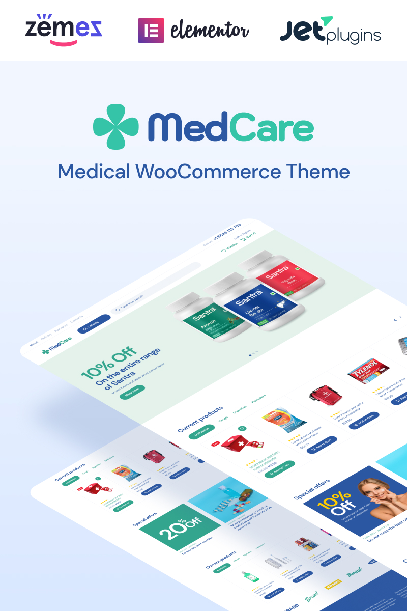 """""""MedCare - Soft and Responsive Pharmacy"""" 响应式WooCommerce模板 #93886 - 截图"""