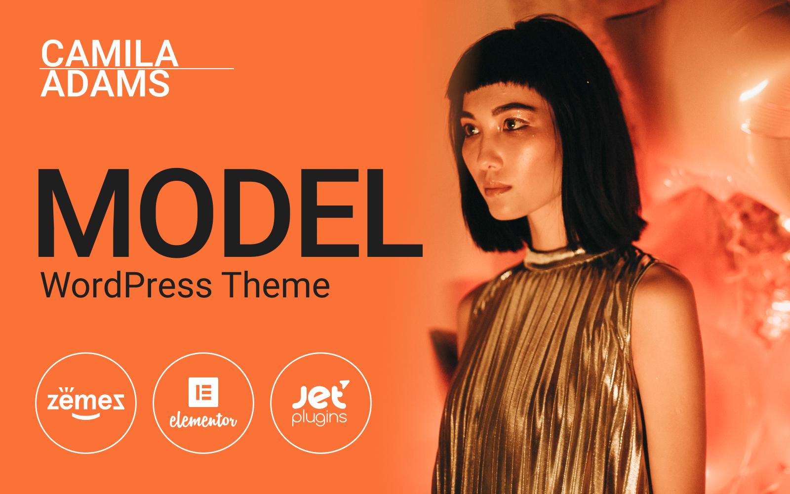 "Modello WordPress Responsive #93887 ""Camila Adams - Vivid and Responsive Male Model website"""