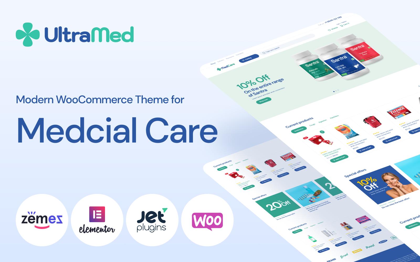Reszponzív MedCare - Soft and Responsive Pharmacy WooCommerce sablon 93886