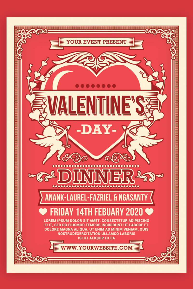 """Modello di Identità Aziendale #93953 """"Valentine's Day Dinner Flyer"""""""
