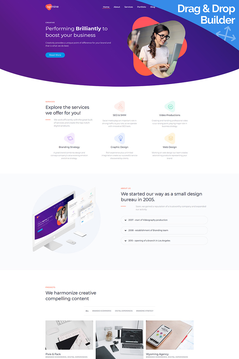 "Moto CMS 3 Template namens ""Upmine - Corporate Digital Agency"" #93962 - Screenshot"