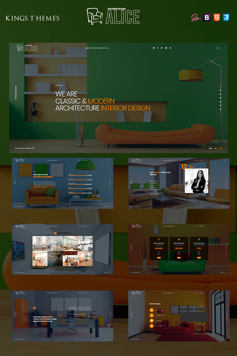 """Plantilla Para Página De Aterrizaje """"Alice - Interior Design"""" #93940"""