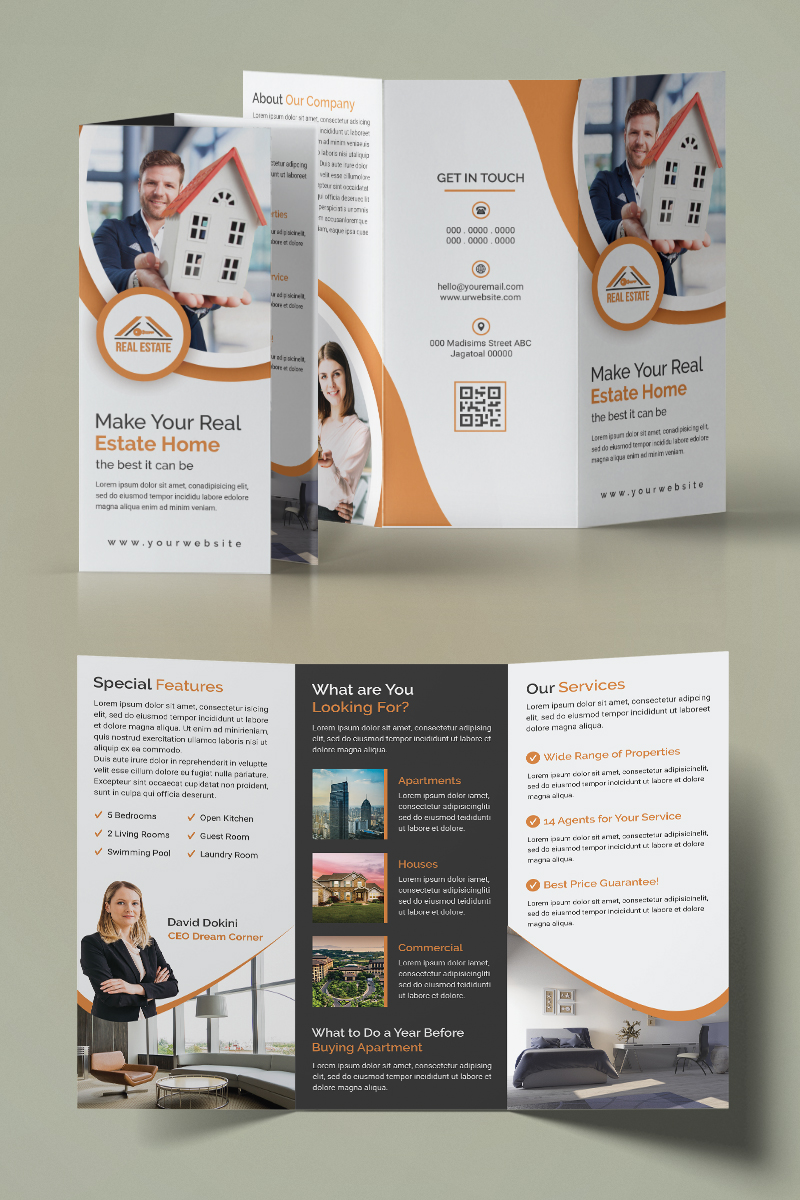 Real Estate Trifold Brochure Corporate Identity Template