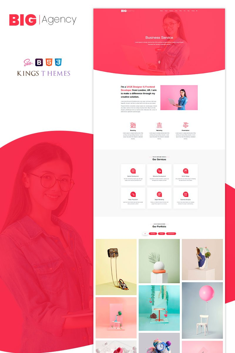 Responsivt Big Agency - One Landing Page-mall #93938