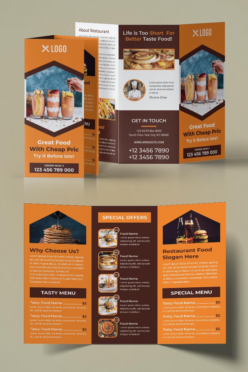 """Unternehmensidentität Vorlage namens """"Restaurant Trifold Brochure"""" #93960"""