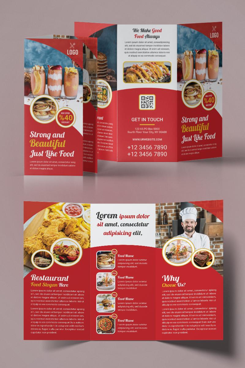 """Unternehmensidentität Vorlage namens """"Restaurant Trifold Brochure"""" #93961"""