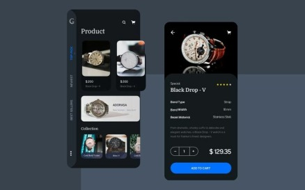 Watch ecommerce app UI Kit Sketch Template