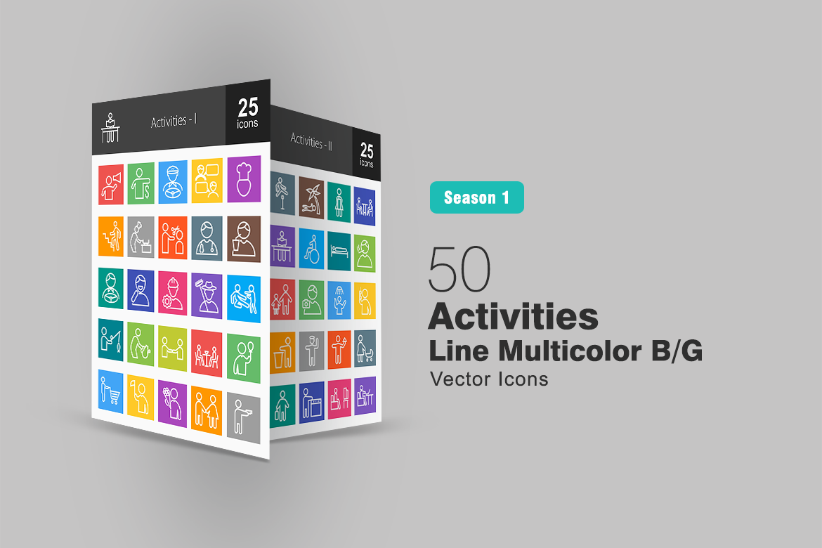 50 Activities Line Multicolor B/G Iconset Template