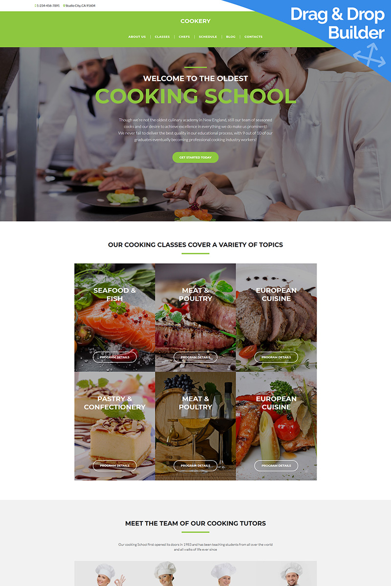 """Cooking - Culinary School"" Responsive Moto CMS 3 Template №94049"