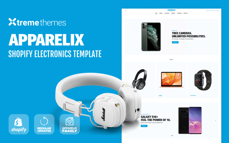 """Electronics Shop on Shopify - Apparelix"" Responsive Shopify Thema №94005"