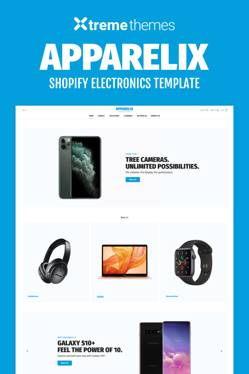 """Electronics Shop on Shopify - Apparelix"" Shopify模板 #94005"