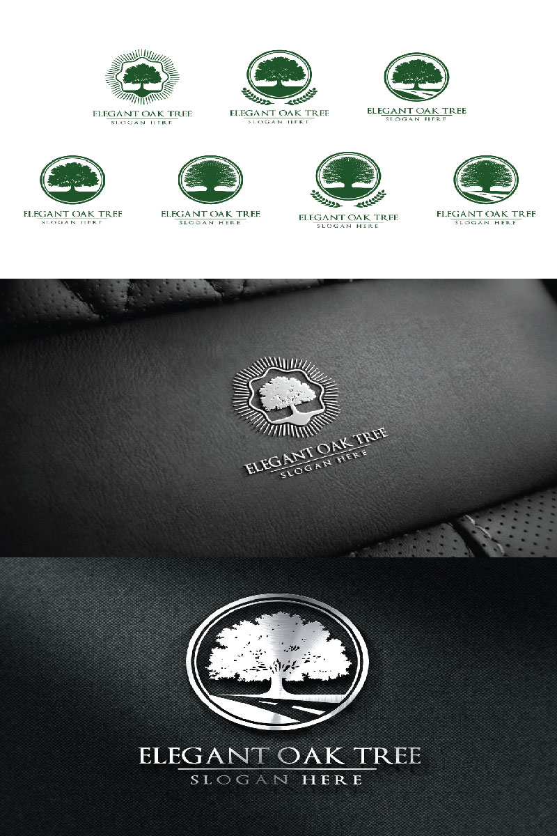 Green Oak Tree 2 Logo Template