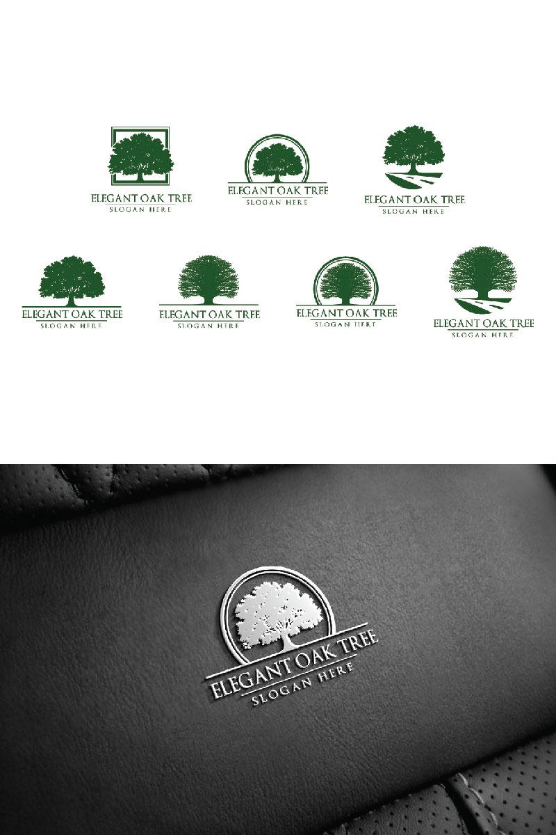 Green Oak Tree Unika logotyp mall #94046