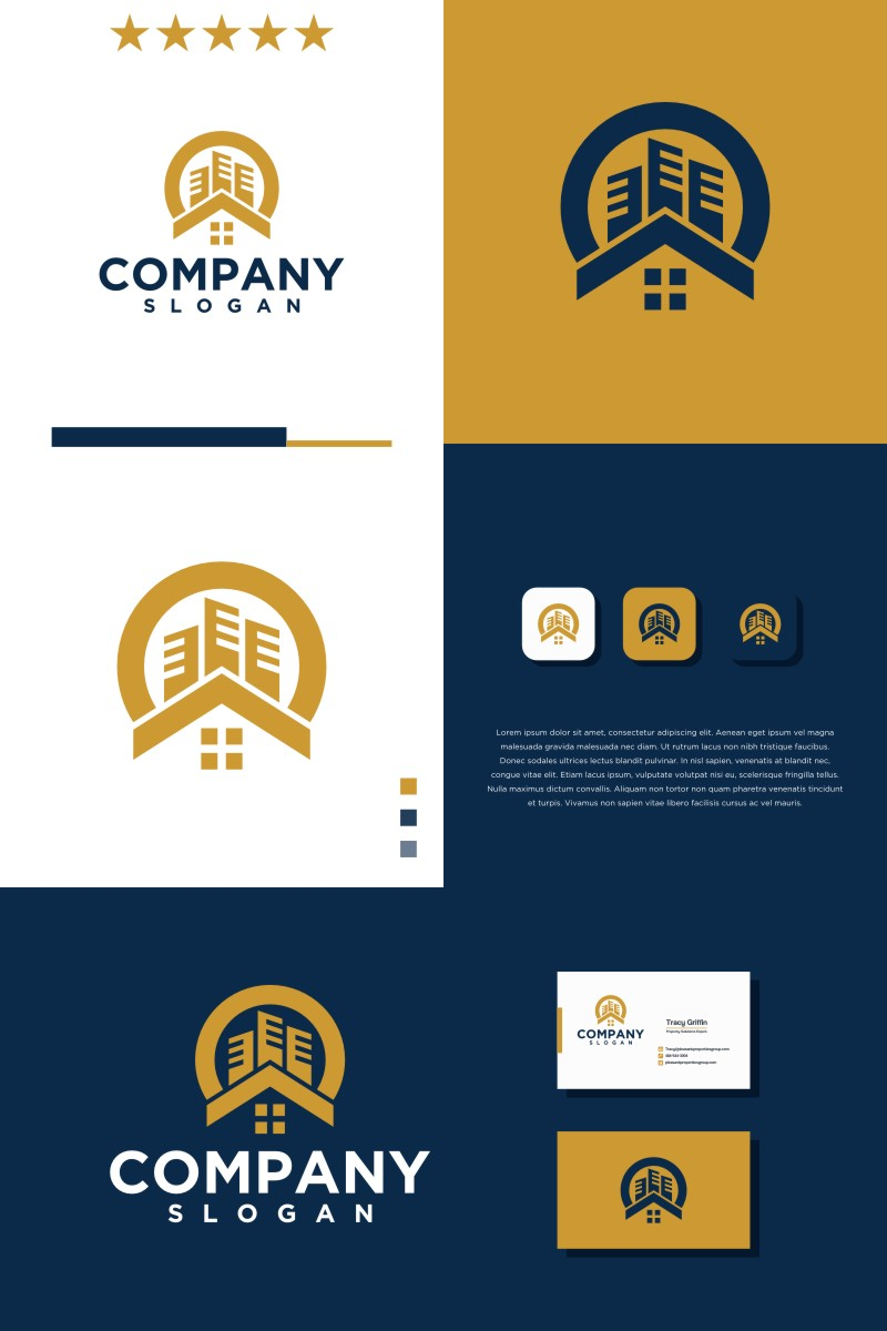 HOME BUILDING ROUNDED Template de Logotipo №94022