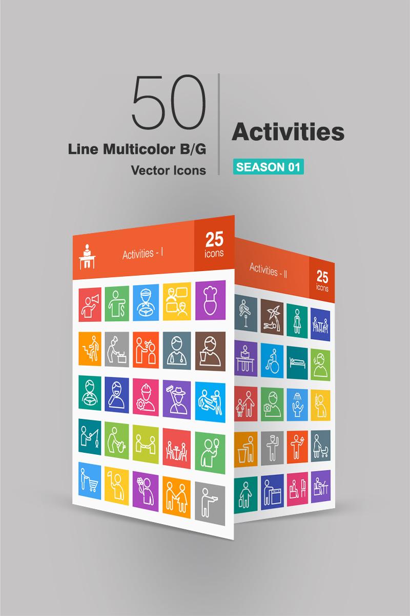 """Icon-Sammlungen Vorlage namens """"50 Activities Line Multicolor B/G"""" #94062 - Screenshot"""