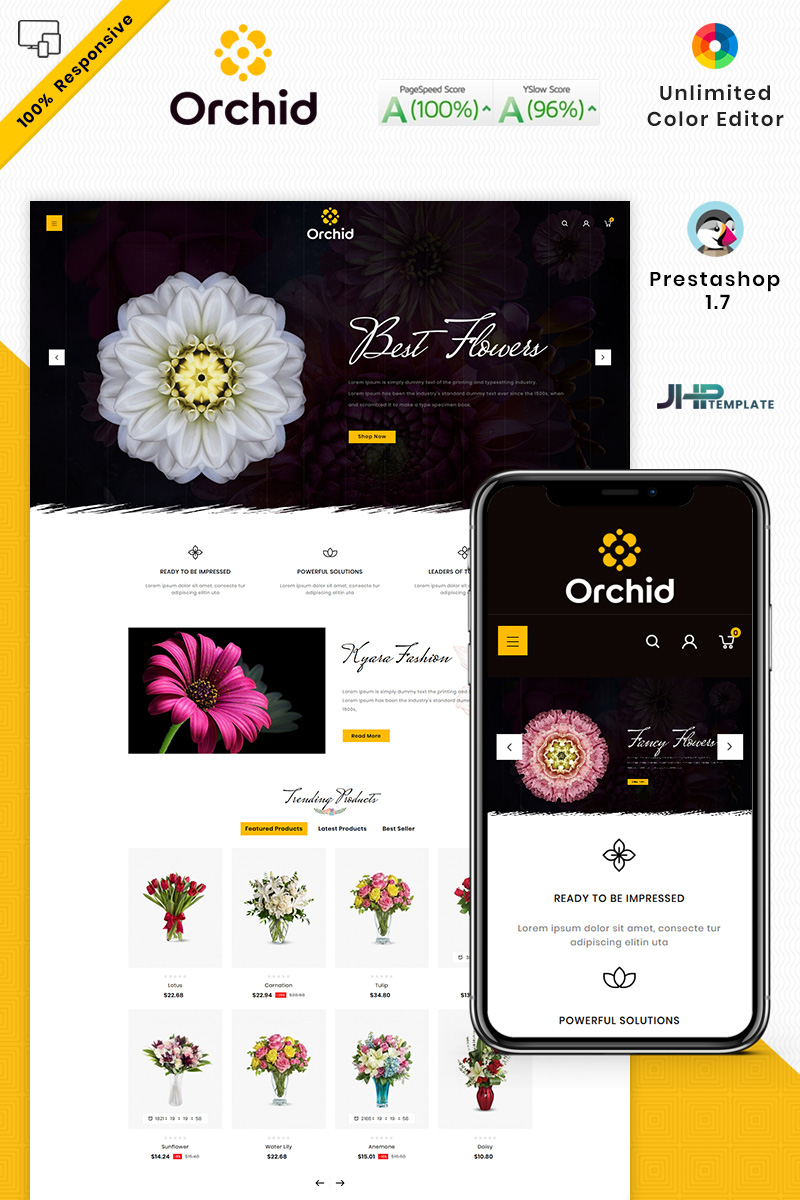 """Orchid Flower"" Responsive PrestaShop Thema №94007"
