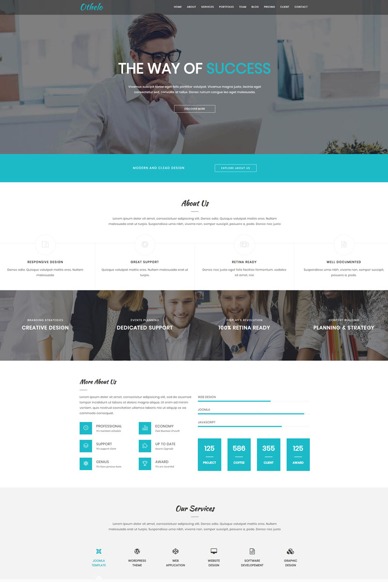 """Othelo - React Gatsby"" Responsive Landingspagina Template №94052 - screenshot"
