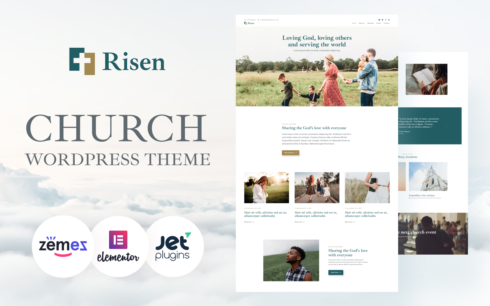 """Risen - Neat WordPress Theme Church"" thème WordPress adaptatif #94054"