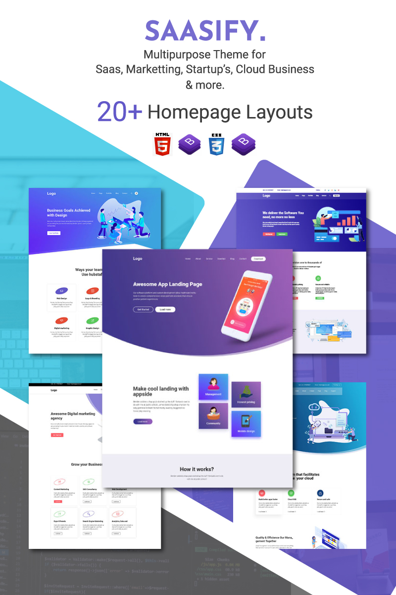 """Saasify - HTML5 Multipurpose Responsive"" Website template №94051"