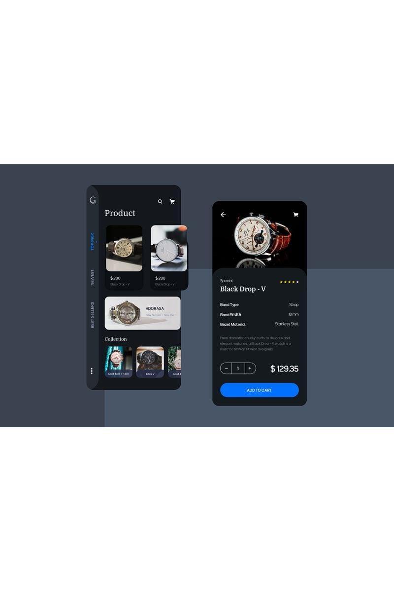 "Sketch-Vorlage namens ""Watch ecommerce app UI Kit"" #94096"