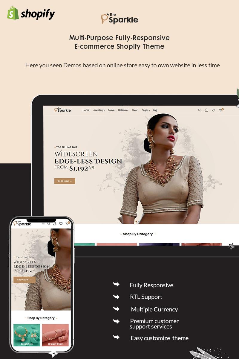 """Sparkle - The Jewelery Premium"" - адаптивний Shopify шаблон №94053"