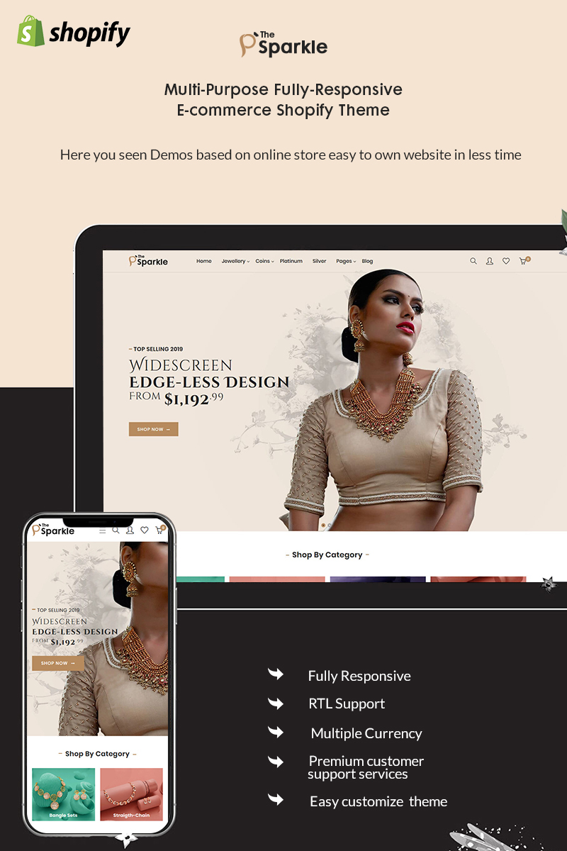 """Sparkle - The Jewellery Premium"" Responsive Shopify Thema №94053"
