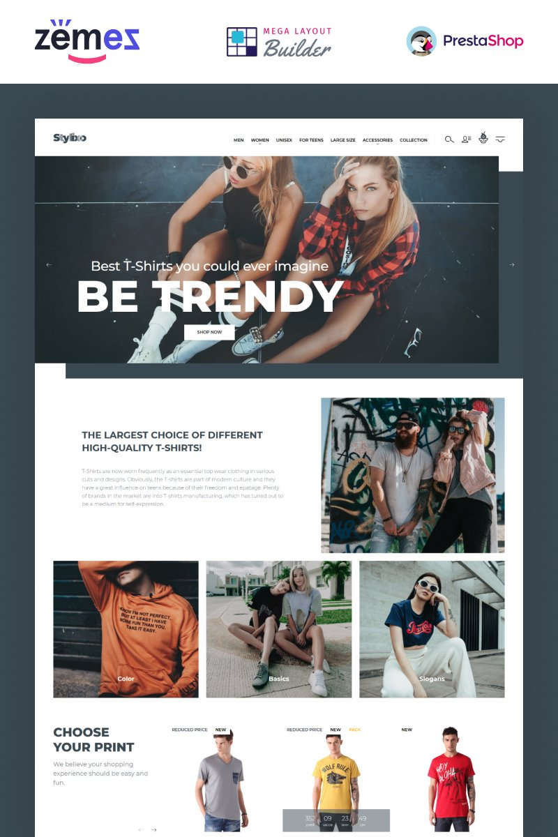 """Stylixo - T-Shirt eCommerce Design Theme"" thème PrestaShop adaptatif #94092"