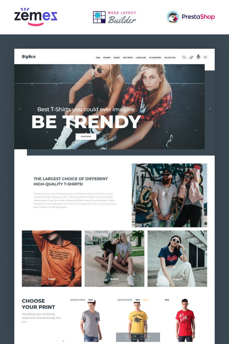 "Tema PrestaShop Responsive #94092 ""Stylixo - T-Shirt eCommerce Design Theme"" - screenshot"