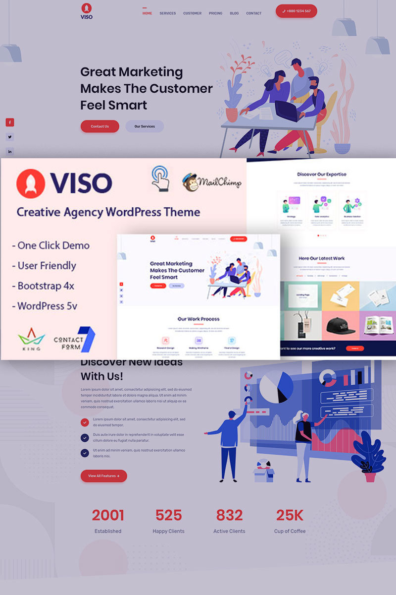"Tema WordPress Responsive #94095 ""VISO - Creative Agency"""