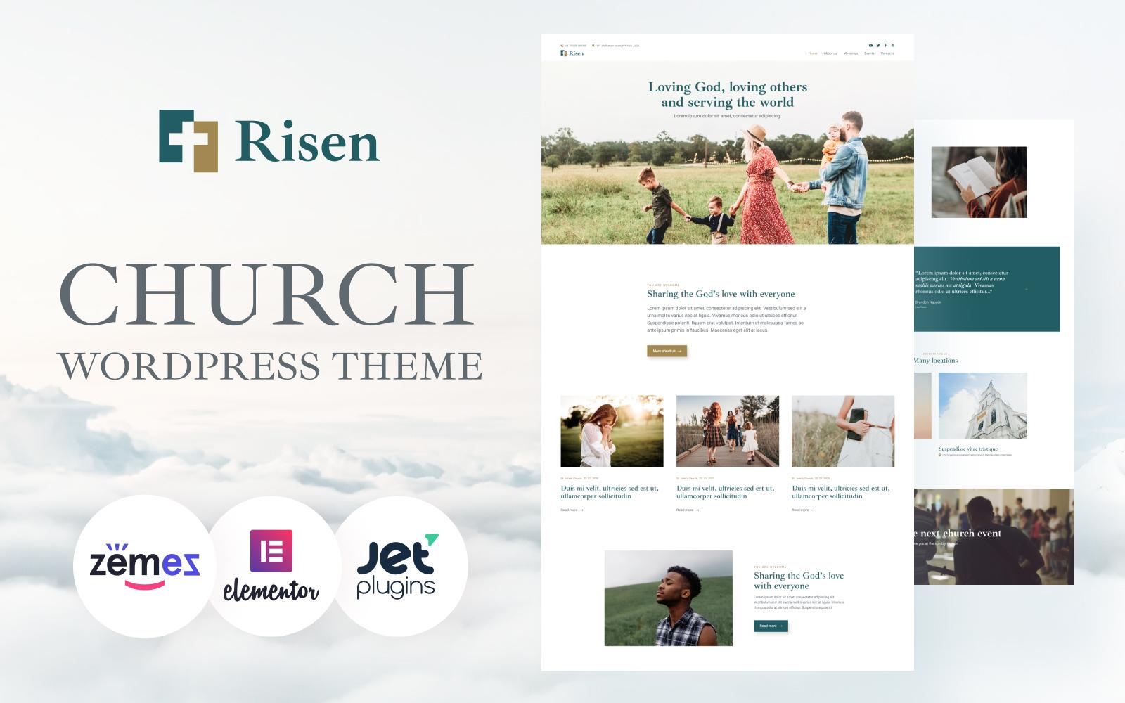 "Template WordPress Responsive #94054 ""Risen - Neat WordPress Theme Church"""