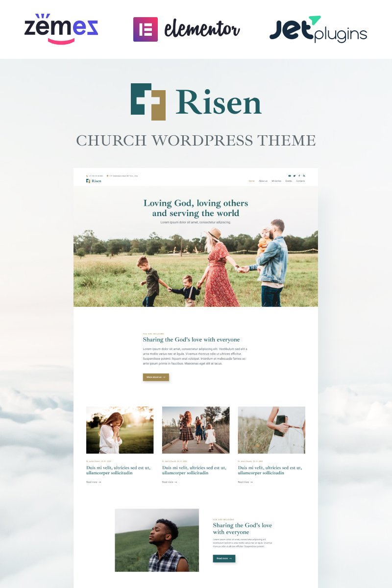 "Template WordPress Responsive #94054 ""Risen - Neat WordPress Theme Church"""