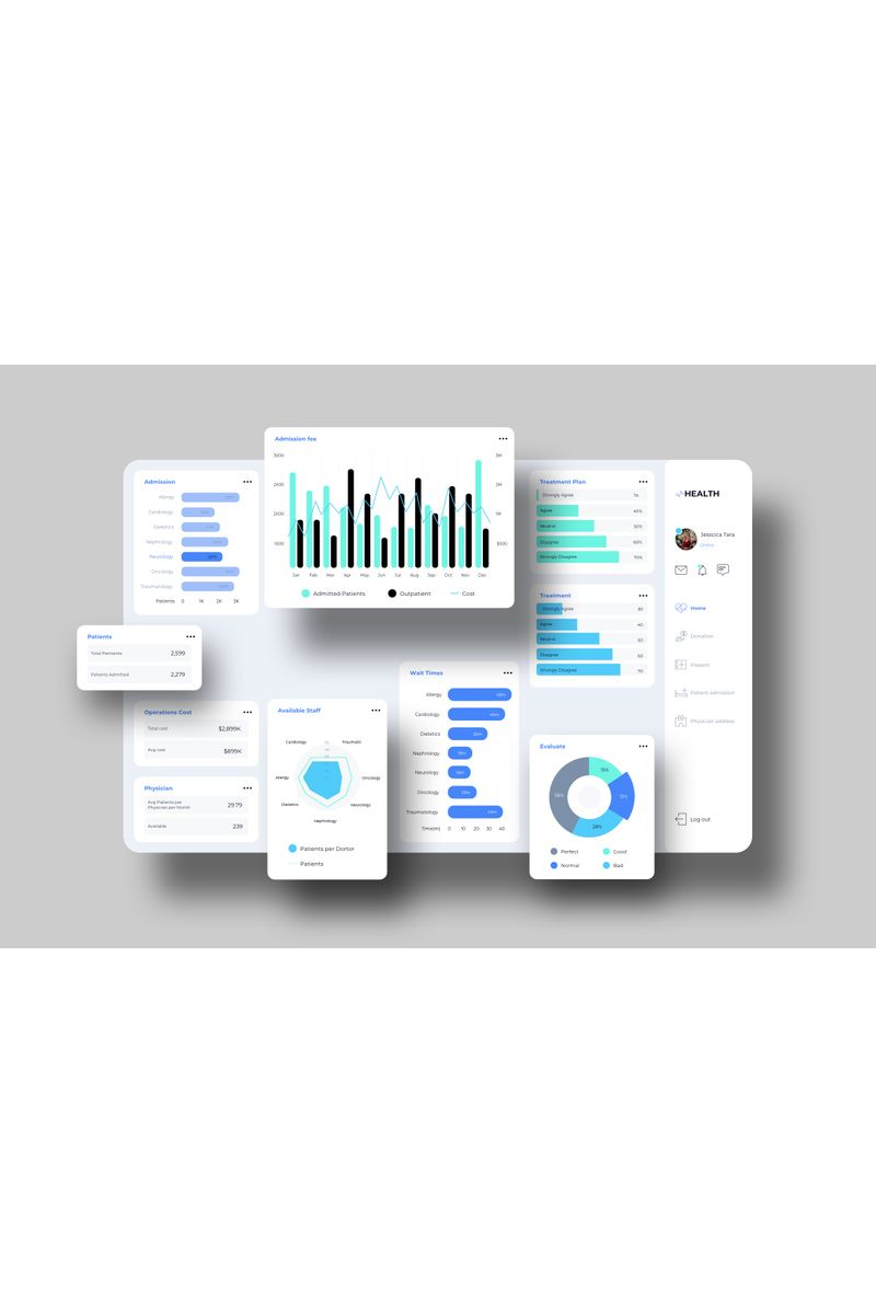 VHealth Dashboard UI Sketch Template