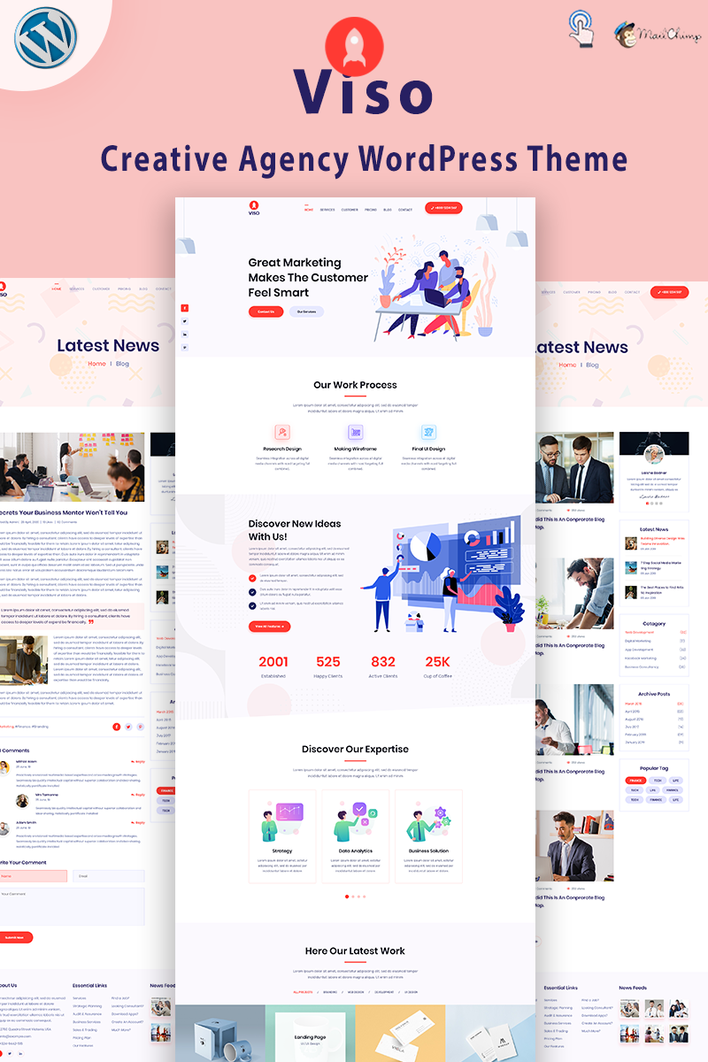 """VISO - Creative Agency"" Responsive WordPress thema №94095"