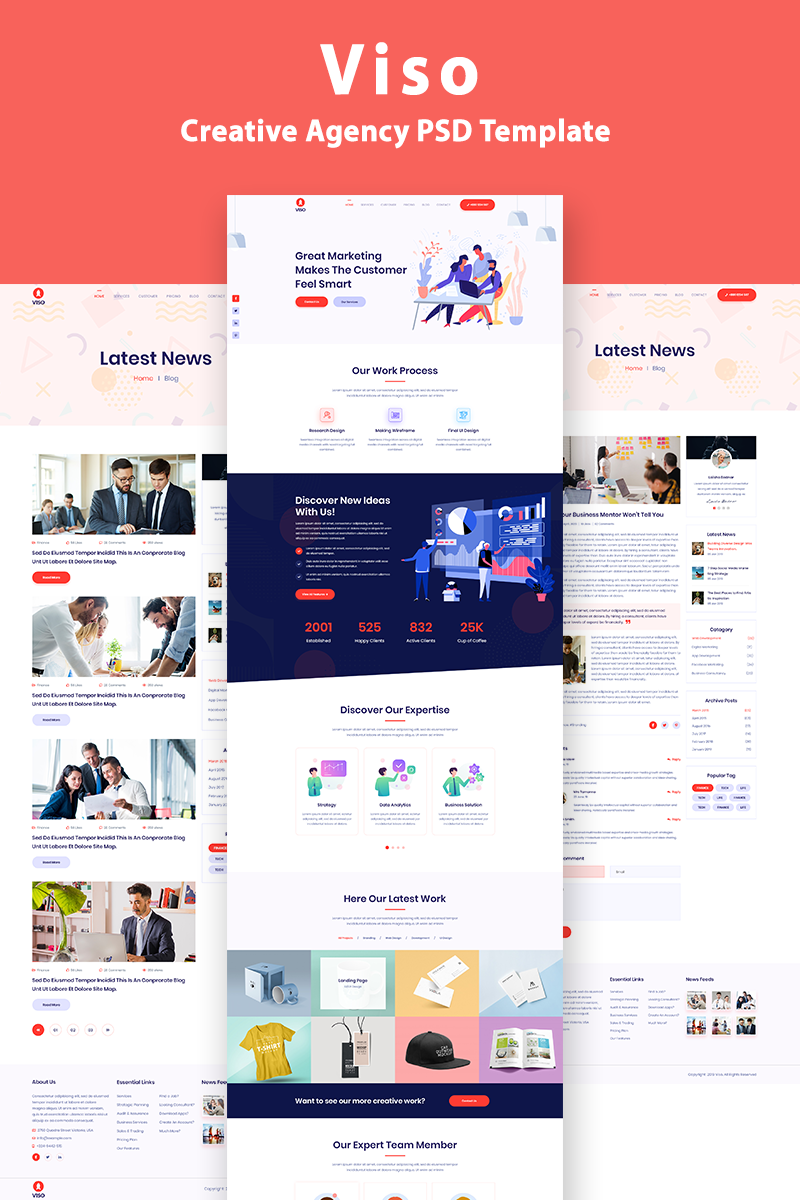VISO - One Page Creative Agency Template Photoshop №94094