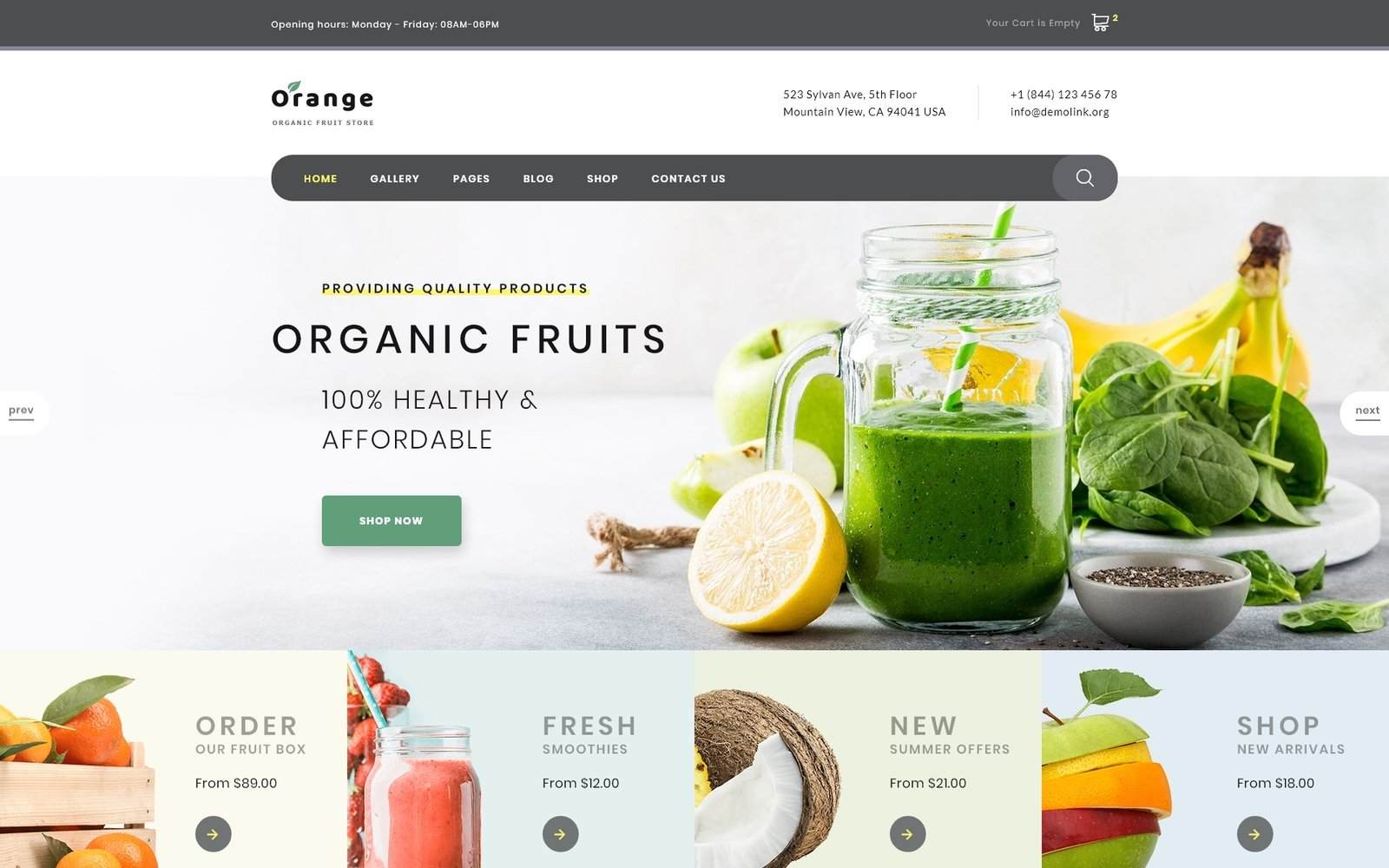 "Website Vorlage namens ""Orange - Organic Fruit Farm"" #94004"