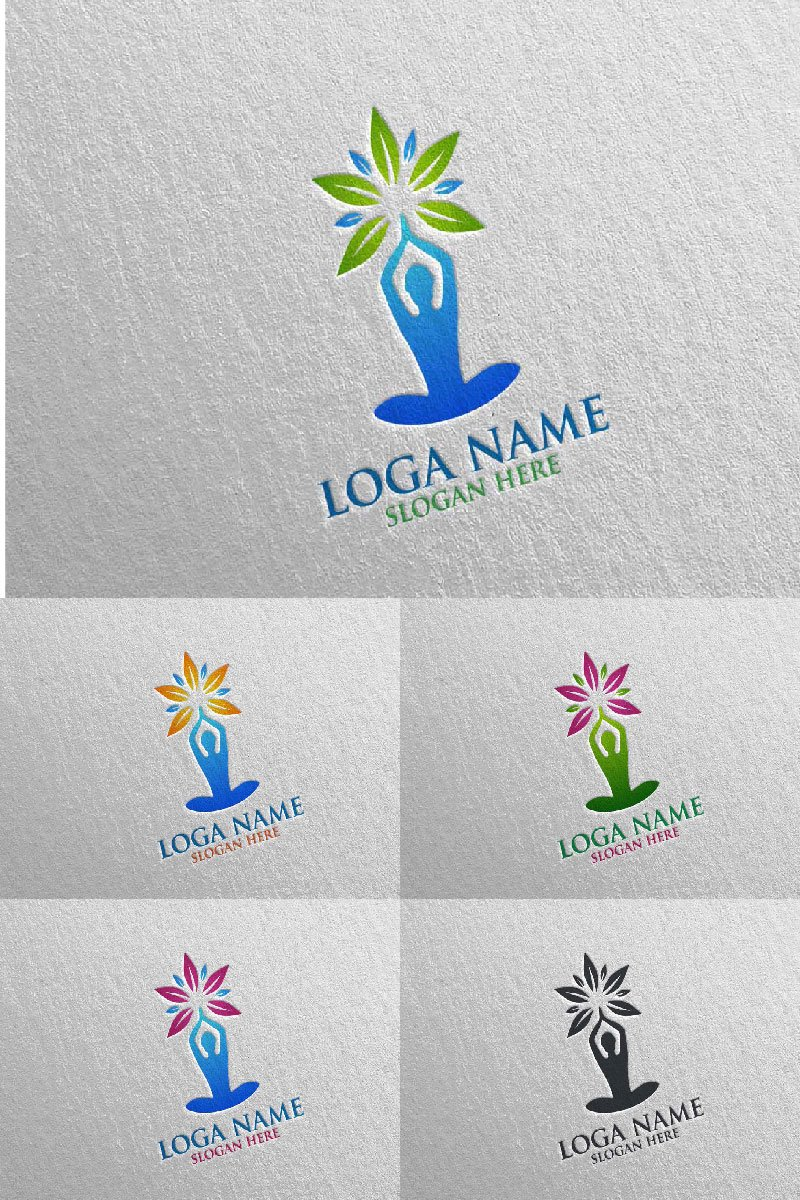 Yoga and Lotus 68 Logo #94048