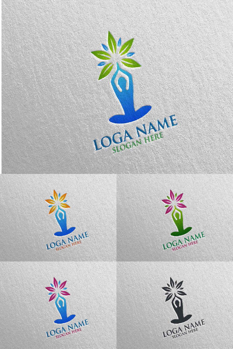 Yoga and Lotus 68 Logo Template