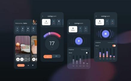 Smart Home Control Dark Mode Mobile UI Sketch Template