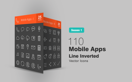 110 Mobile Apps Line Inverted Icon Set