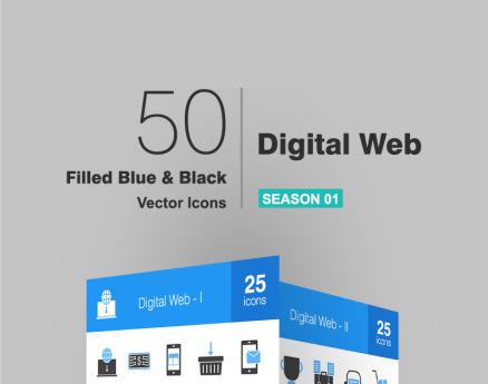 50 Digital Web Filled Blue & Black Icon Set