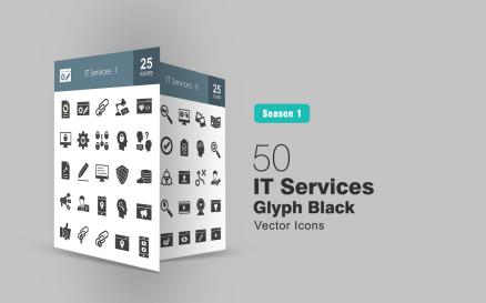 50 IT Services Glyph Icon Set