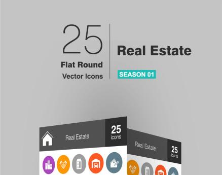 26 Real Estate Flat Round Icon Set