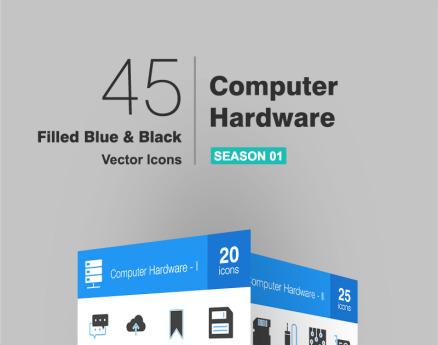 45 Computer & Hardware Filled Blue & Black Icon Set