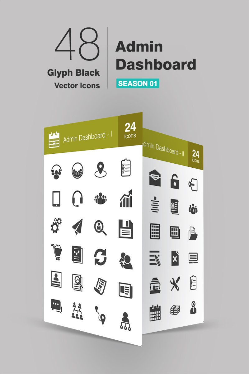 48 Admin Dashboard Glyph Iconset Template