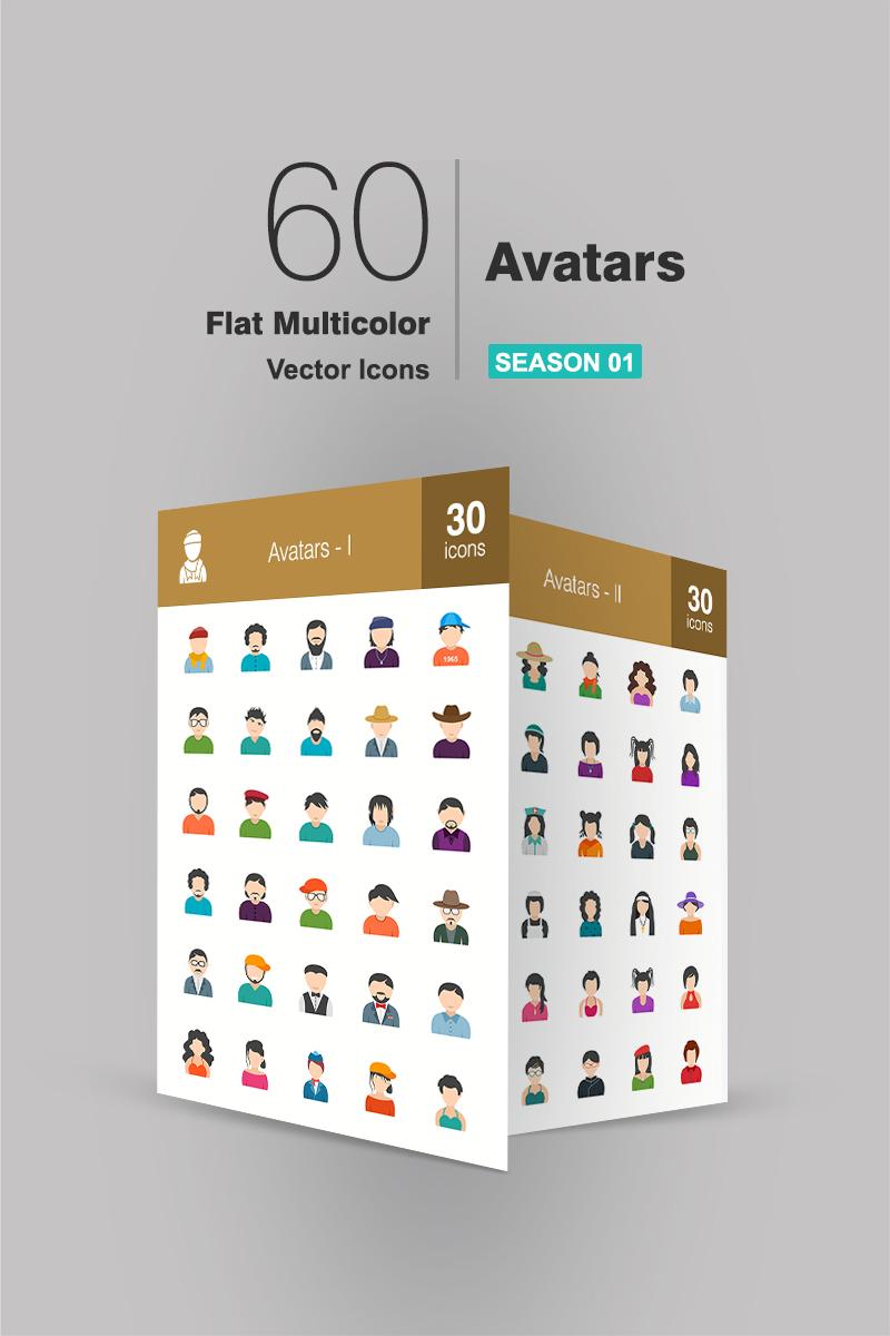 60 Avatars Flat Multicolor Iconset Template