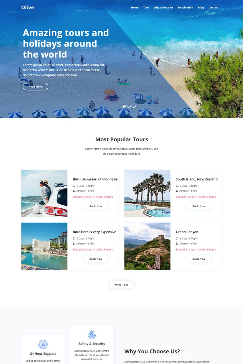 Bootstrap szablon Landing Page Olive - Travel Agency #94140