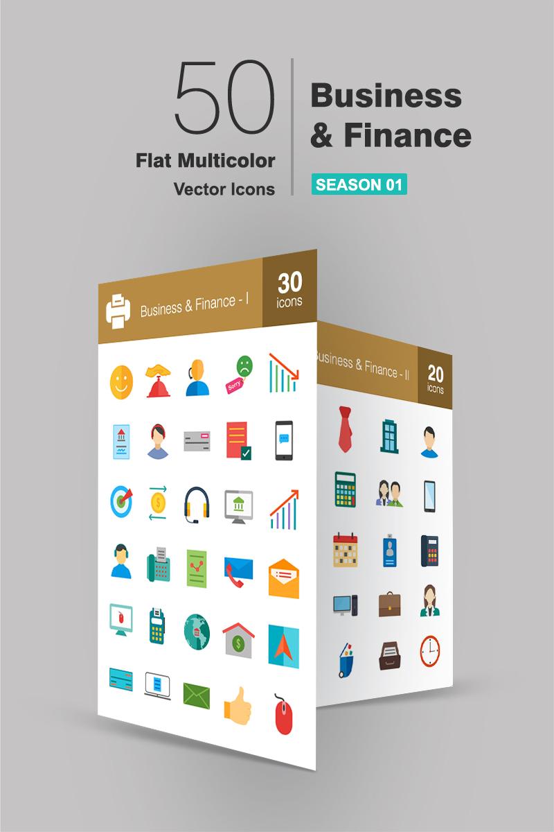 """50 Business Flat Multicolor"" ensemble d'Icônes  #94178 - screenshot"