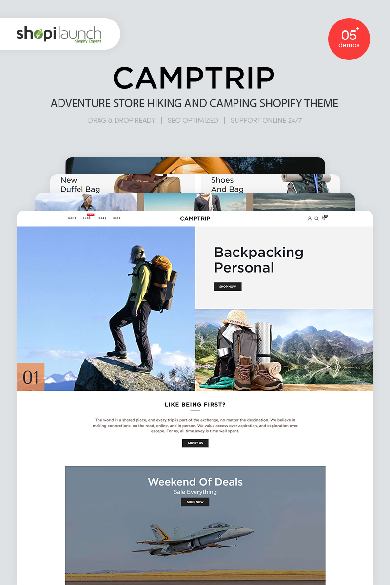"""Camptrip - Adventure Store Hiking and Camping"" Shopify模板 #94141"