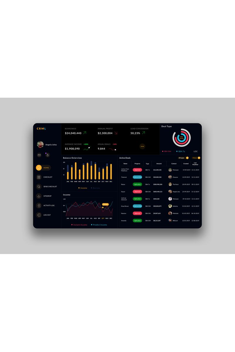 CRM Dashboard Ui V2 Sketch Template