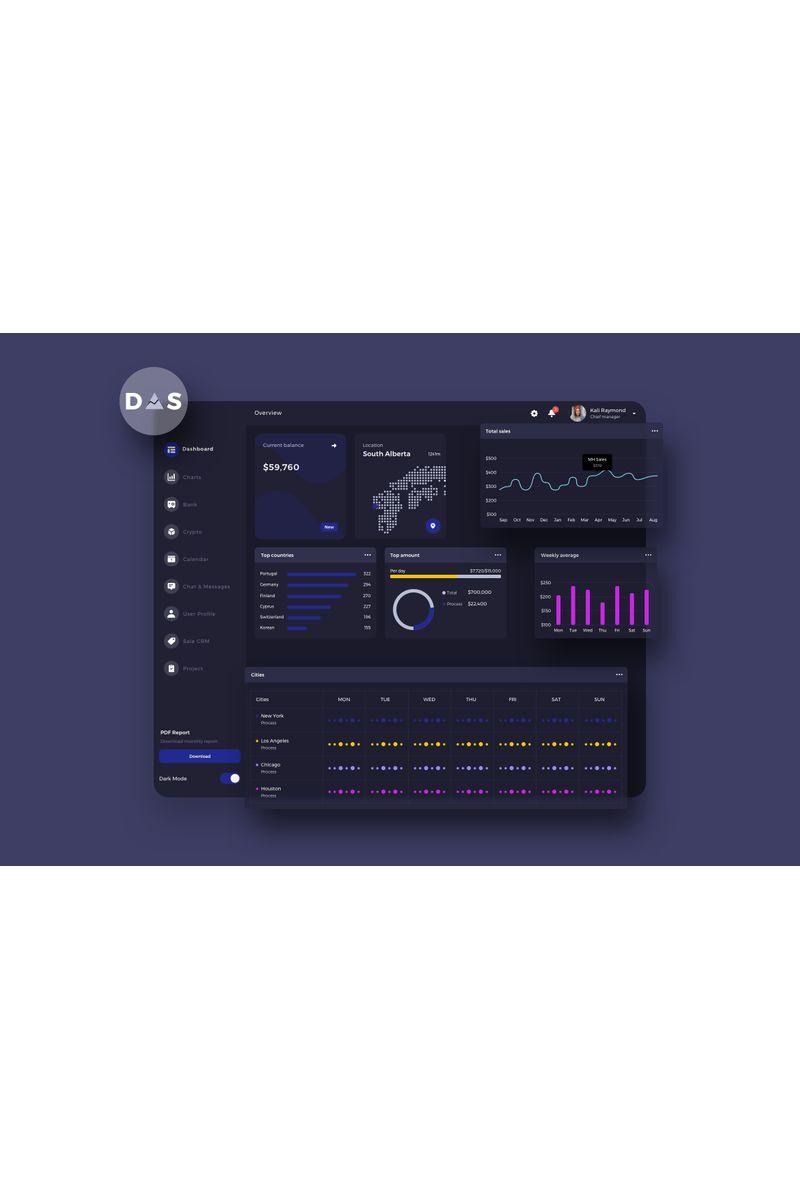 DAS Finance Dashboard Ui Dark Template de Ilustração №94129